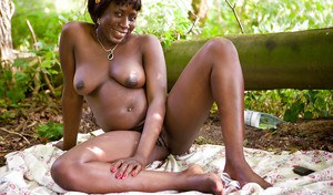 Older black woman Lewa getting naked in woods for nude modeling debut