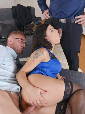 Hot European MILF Billie Star getting her ass fucked by two hard dicks
