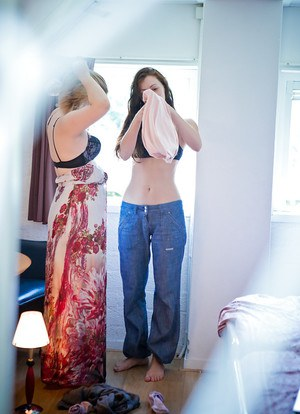 Sneaky voyeur catches young girls Gina J and Kylie getting dressed