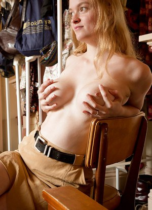 Blonde amateur Laney taking off clothes and to bare hairy armpits