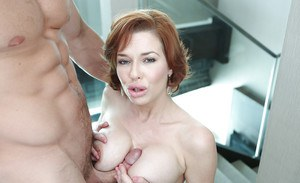 Redhead mom Veronica Avluv giving a titjob and cum dripping from pussy