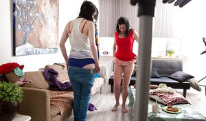 Beautiful amateurs Claudia S and Mina putting on some clothes after sex