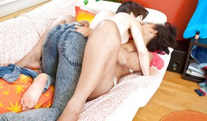 Hairy interracial lesbian couple Dani L and Lulu licking each other