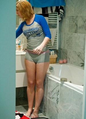 Horny amateur redhead Emily B getting dressed after a steamy shower