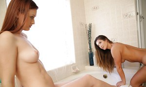 Beautiful babes Eva Lovia and Karlie Montana fucking in a bathtub