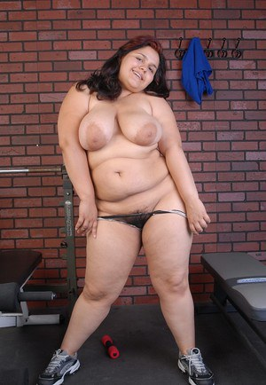 BBW Karla removes panties after sports session and spreads fat cunt
