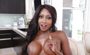 Buxom black beauty Diamond Jackson with mouthful of cum dripping down chin