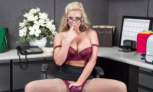 Blonde office babe in glasses removes business clothes and underwear