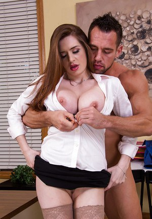 Hot secretary Veronica Rain wraps her lips around a fat cock for cumshot