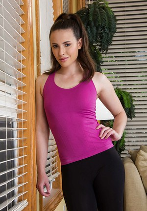 Pale small tit teen Casey Calvert stripping in her room and spreading