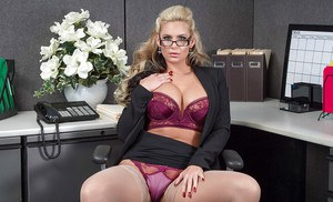 Gorgeous blonde mommy Phoenix Marie stripping in her office