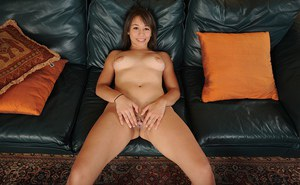 Amateur chick Athena Summers removes bra and panties for pussy spreading