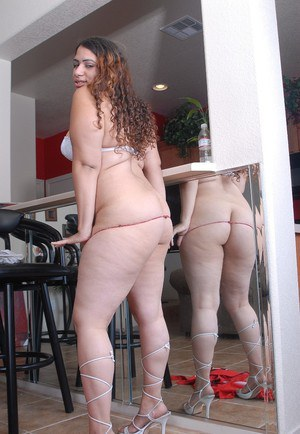 Fat chick Mercedez baring her big fat ass and stretching pussy wide open