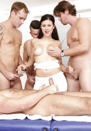Stunning European whore Billie Star getting gangbanged by four cocks