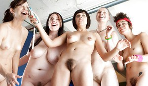 Geeky girls flashing hairy pussies in sexy lesbian groupsex orgy