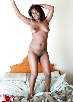 Black amateur Anais flaunts big all natural ebony breasts after stripping