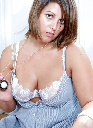 Chubby first timer Sarcha flaunts large saggy boobs after removing lingerie