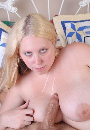 Young chubby blonde Christal has shaved cunt licked before taking cumshot