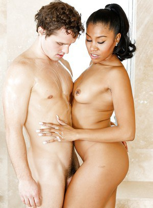 Naughty ebony mommy Yasmine de Leon taking white dick doggystyle