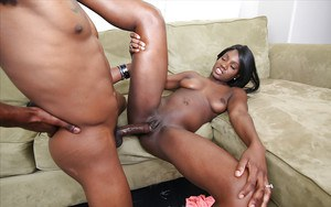 Black chick Kay Love takes a brother's BBC deep inside shaved cunt