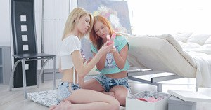 Cute young girls Alexis and Madison explore the joys of girl on girl sex