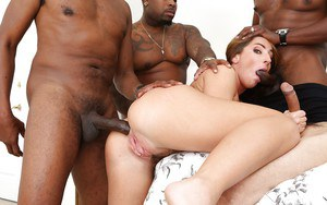 Slutty chick Savannah Fox taking hardcore interracial gangbang