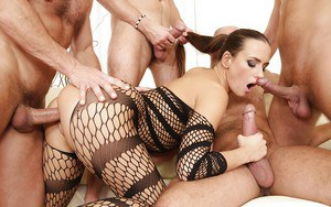 Busty model Mea Malone ass fucked and cum splattered in hardcore gangbang