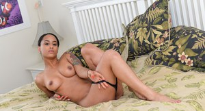 Ebony amateur Yasmin strips naked and fingers her pussy while bf watches