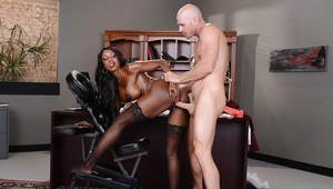 Ebony pornstar Diamond Jackson and her oiled juggs give white stud blowjob
