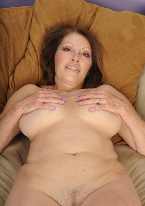 Outstanding mature Jane McWilliams showing off her big saggy boobs