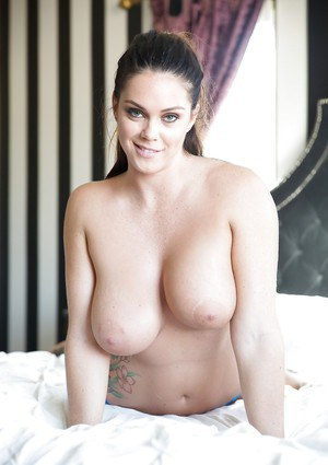 Unbelievably busty pornstar Alison Tyler showing off her trimmed pussy