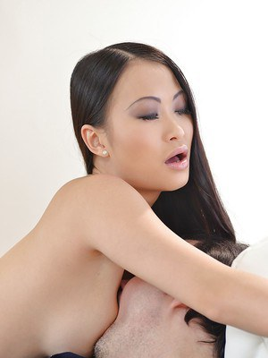 Young Asian hottie PussyKat taking older man's dick in tight asshole
