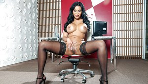 Tattooed Latina Mary Jean flaunts big breasts in stockings and high heels