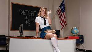 Young chick Jenna Ashley bends over in classroom to flash schoolgirl pussy