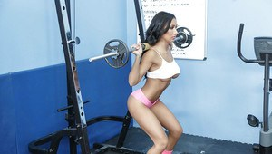 Hot babe Amia Miley working out in skimpy midriff top and pink panties
