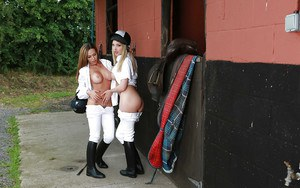 Hot Euro riding school girls Subil Arch and Tamara Grace pull down pants