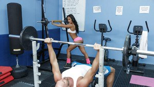 Tight and toned fitness chick Amia Riley taking cumshot on tits at the gym