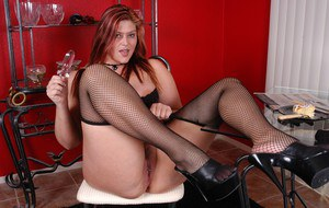 Fat hottie Eden pulls panties and mesh stockings down for toying action