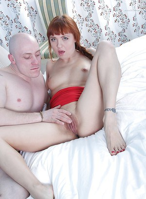 Redhead spinner Lexy Star bent over for anal toying and shaved cunt petting