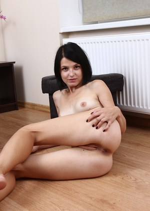 Skinny amateur model Lana Sweat exposes her small tits and bald pussy