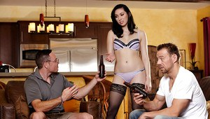 Sexy wife Aria Aexander serves beer to men in bra and pantyhose