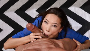Asian worker Kalina Ryu depethroats a co-worker's cock and swallows cum