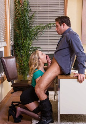 Blonde secretary in black nylons gets frisky at the office with big cock