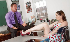Barely legal schoolgirl Jenna J Ross pulls down her panties for teacher