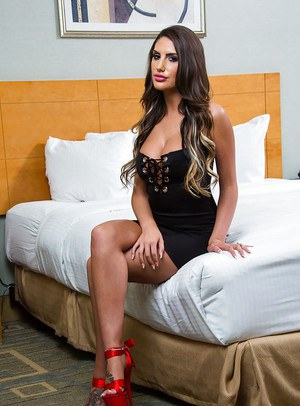 Busty brunette pornstar August Ames spreading panty ridden cunt in motel