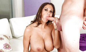 Buxom wife Ava Addams pulls huge hooters out of dress for younger man