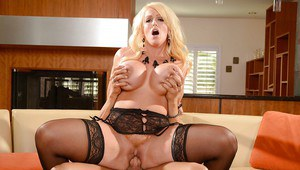 Busty blonde cougar Alura Jensen rides a younger mans cock in stockings