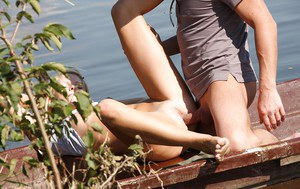Barely legal teen Nella B is stripped naked for first time sex outdoors