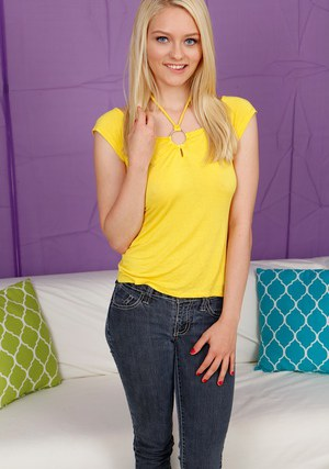 Barely legal blonde teen Alli Rae stripping naked for the casting couch