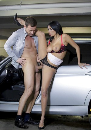 Euro pornstar Anissa Kate taking dick in mouth and cunt in parking garage